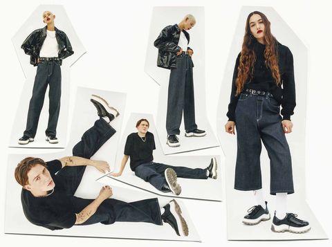 Clothing, Jeans, Fashion, Footwear, Denim, Design, Suit, Fashion design, Leg, Formal wear,