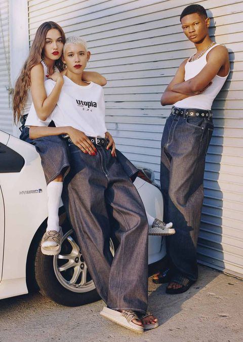 Jeans, Fashion, Leg, Denim, Sitting, Footwear, Photo shoot, Photography, Street fashion, Waist,