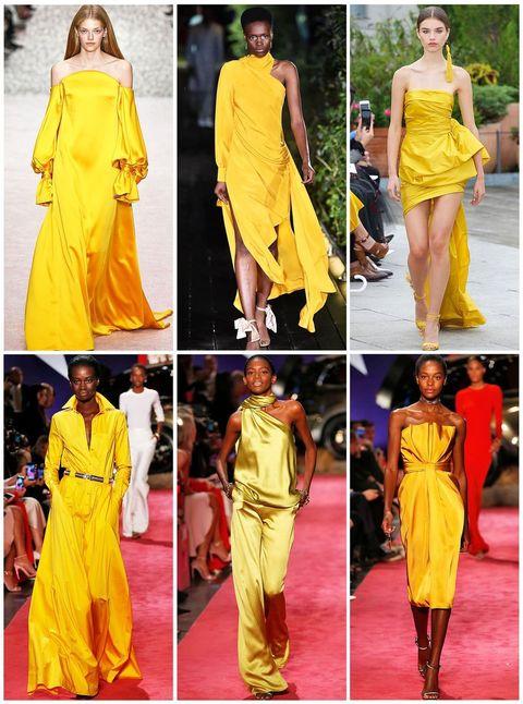 Fashion model, Clothing, Yellow, Fashion, Orange, Dress, Shoulder, Neck, Fashion design, Haute couture,