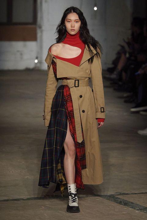 Shoe, Textile, Outerwear, Style, Fashion model, Street fashion, Fashion show, Carmine, Fashion, Costume design,