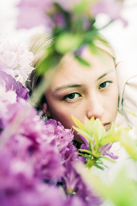 Face, Skin, Purple, Lavender, Flower, Green, Beauty, Lilac, Head, Eye,