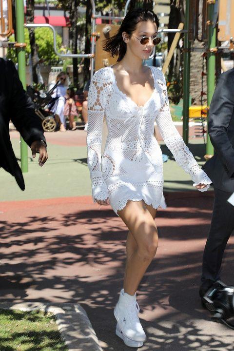 White, Street fashion, Clothing, Eyewear, Fashion, Sunglasses, Snapshot, Footwear, Leg, Shoulder,