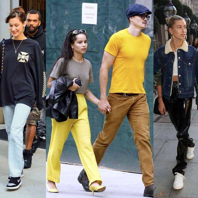 Street fashion, People, Jeans, Fashion, Yellow, T-shirt, Denim, Event, Fashion design, Style,
