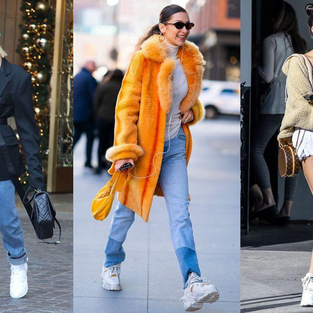Clothing, Street fashion, Jeans, Fur, Fashion, Footwear, Outerwear, Yellow, Denim, Shoe,