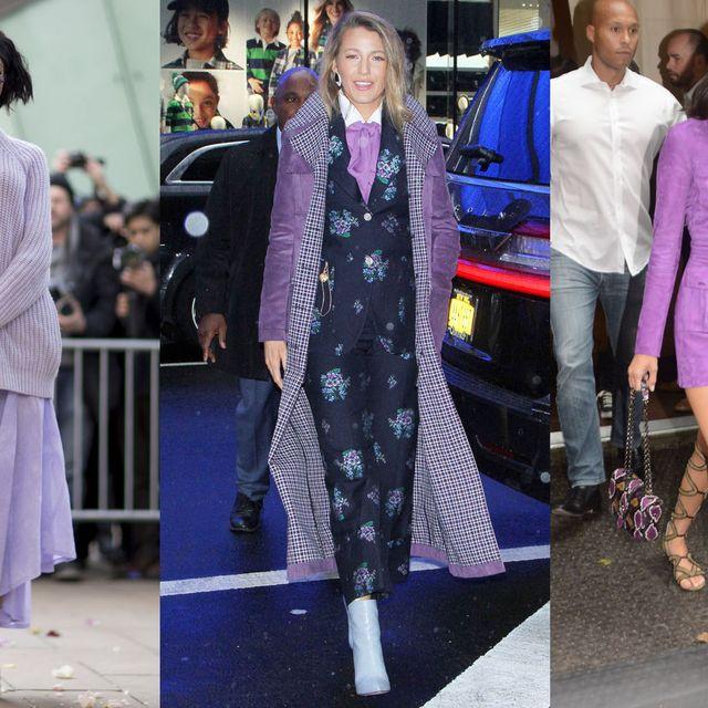 Clothing, Street fashion, Fashion, Fashion model, Purple, Violet, Outerwear, Fashion design, Footwear, Dress,