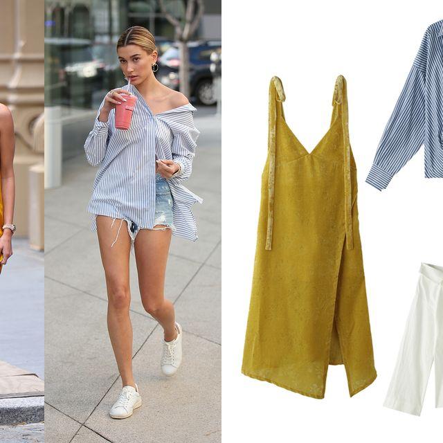 Clothing, Yellow, Street fashion, Fashion, Shoulder, Footwear, Dress, Outerwear, Textile, Shorts,