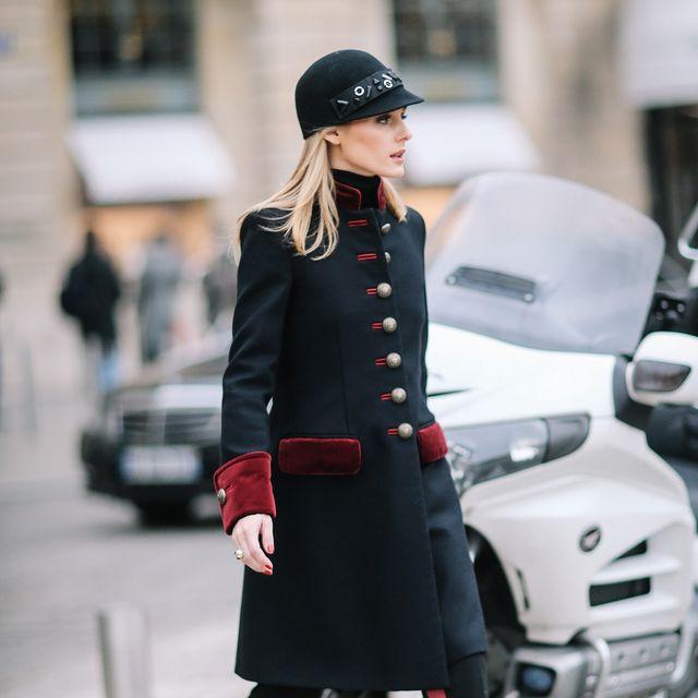 Coat, Street, Hat, Outerwear, Collar, Style, Street fashion, Cap, Blazer, Bag,