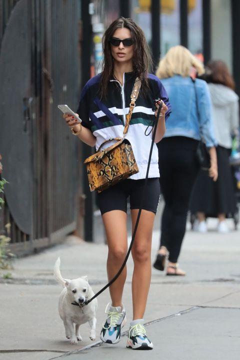Street fashion, White, Clothing, Dog walking, Photograph, Fashion, Snapshot, Beauty, Companion dog, Dog,