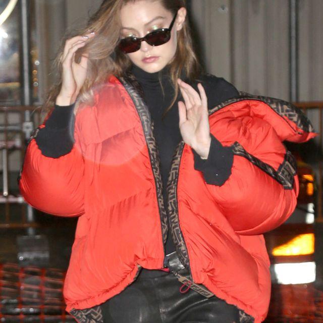 Clothing, Red, Orange, Jacket, Leather jacket, Leather, Fashion, Shoulder, Outerwear, Eyewear,