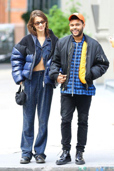 Street fashion, Clothing, Jeans, Fashion, Denim, Jacket, Outerwear, Plaid, Standing, Footwear,