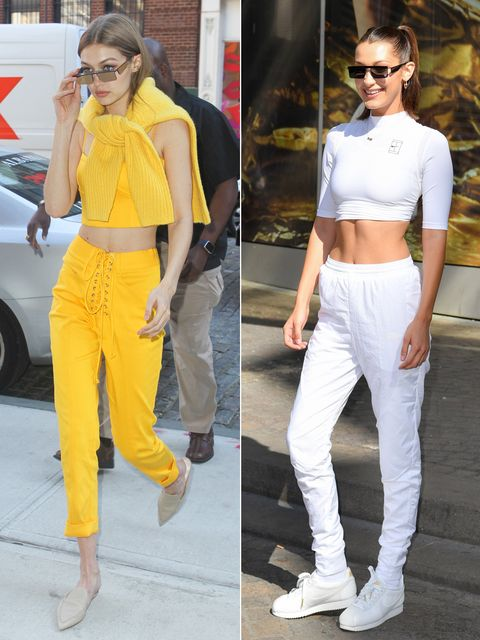 Clothing, White, Yellow, Street fashion, Crop top, Fashion, Waist, sweatpant, Footwear, Sunglasses,
