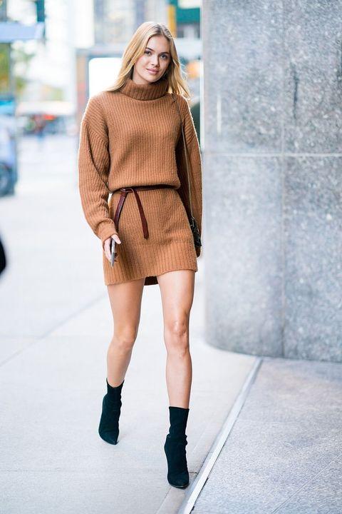 Clothing, Fashion, Shoulder, Street fashion, Fashion model, Beauty, Footwear, Joint, Brown, Leg,