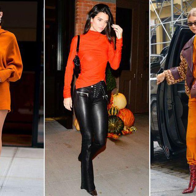 Orange, Clothing, Street fashion, Fashion, Footwear, Yellow, Fashion model, Shoulder, Joint, Knee,