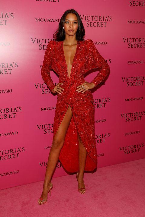 Clothing, Red, Red carpet, Fashion, Pink, Carpet, Fashion model, Lip, Flooring, Dress,