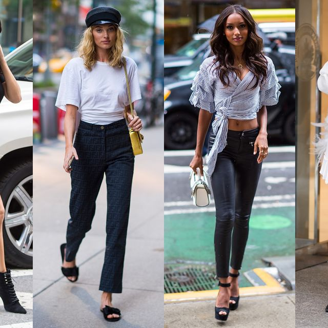 Clothing, Street fashion, White, Footwear, Jeans, Fashion, Shoe, Leg, Black-and-white, Sandal,