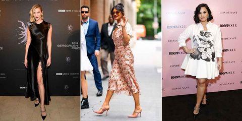 Clothing, Footwear, Leg, Dress, Sleeve, Shoulder, Outerwear, Formal wear, Style, Fashion model,