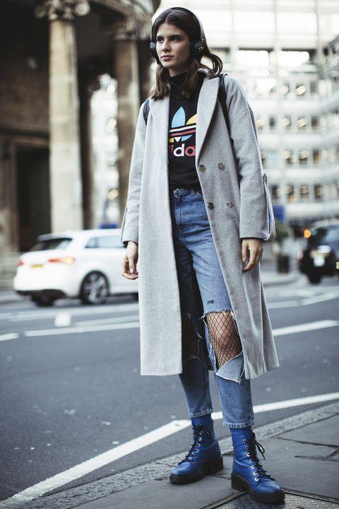 Clothing, Street fashion, Photograph, Fashion, Coat, Snapshot, Jeans, Outerwear, Footwear, Denim,