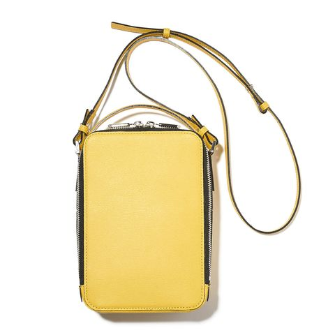 Bag, Handbag, Yellow, Shoulder bag, Fashion accessory, Material property, Beige, Leather, Rectangle, Brass,