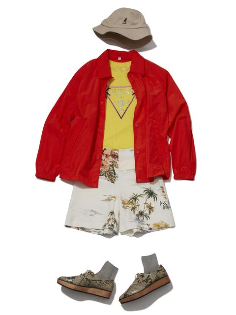 Clothing, Outerwear, Red, Jacket, Sleeve, Costume, Footwear, Beige, Costume design, Coat,