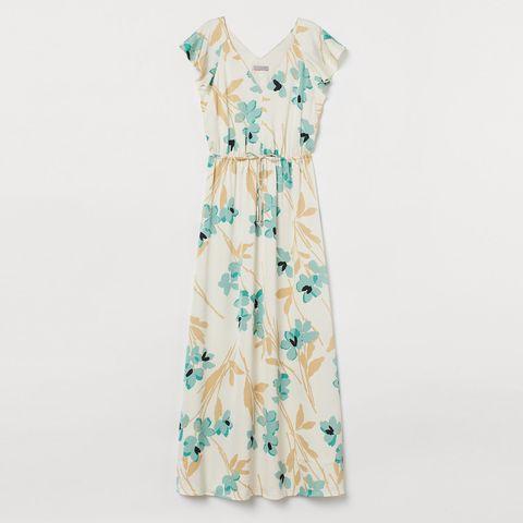 Blue, Sleeve, Green, Dress, Textile, Pattern, One-piece garment, Collar, Teal, Aqua,