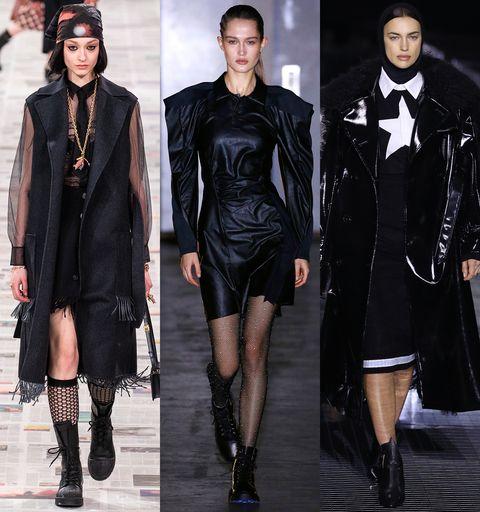 Clothing, Outerwear, Fashion model, Style, Black hair, Fashion, Dress, Black, Runway, Fashion show,