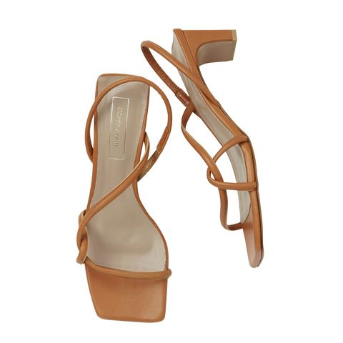 Brown, Product, Tan, Beige, Material property, Peach, Slingback, Leather, Sandal, Strap,