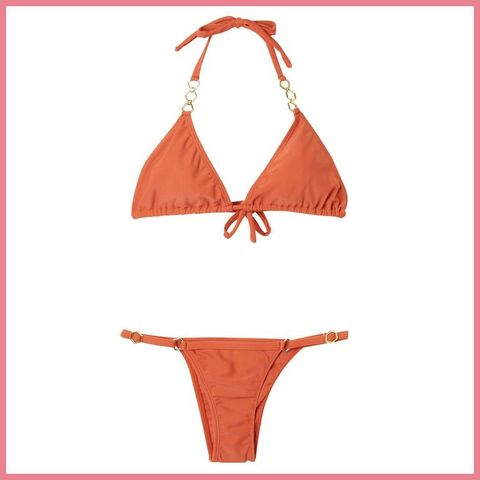 Bikini, Swimsuit bottom, Swimsuit top, Clothing, Swimwear, Lingerie, Undergarment, Orange, Lingerie top, Maillot,