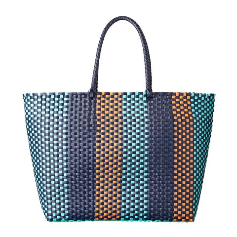 Handbag, Bag, Tote bag, Turquoise, Fashion accessory, Orange, Material property, Shoulder bag, Pattern, Luggage and bags,