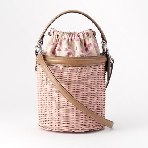 Product, Bag, Lavender, Home accessories, Beige, Metal, Peach, Shoulder bag, Handle, Wicker,