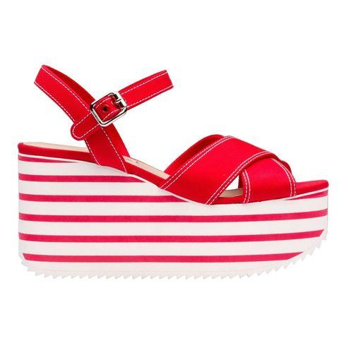 Red, Carmine, Wedge, Strap, Walking shoe, Slingback,