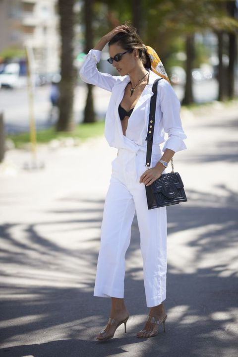 White, Clothing, Street fashion, Shoulder, Jeans, Sunglasses, Eyewear, Fashion, Footwear, Denim,