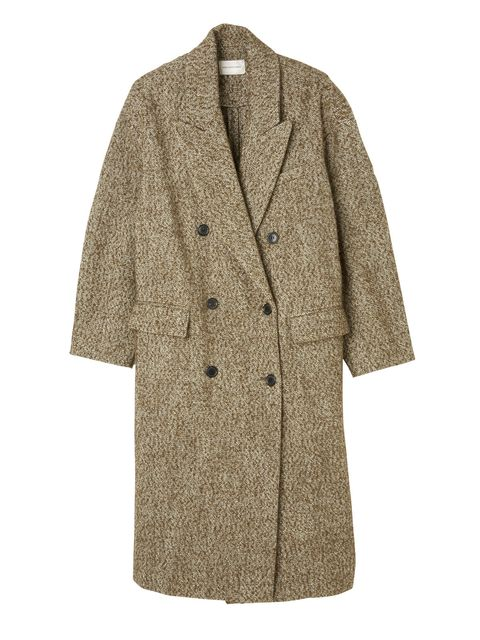Coat, Sleeve, Collar, Textile, Outerwear, Pattern, Fashion, Beige, Button, Woolen,