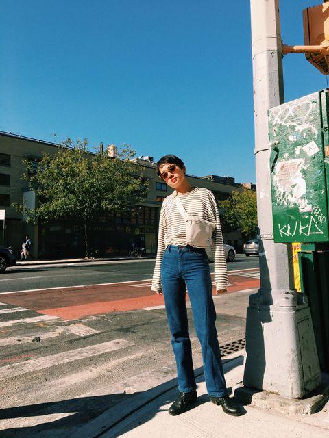 Photograph, Blue, Green, Standing, Jeans, Snapshot, Beauty, Denim, Sky, Tree,