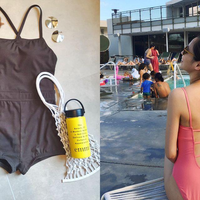 Clothing, Yellow, Dress, One-piece swimsuit, Fashion, Pink, Sleeveless shirt, Summer, Design, Pattern,