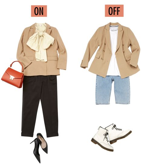 Clothing, Outerwear, Footwear, Coat, Fashion, Beige, Blazer, Jacket, Costume design, Costume,
