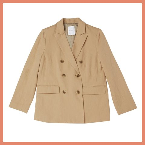 Clothing, Outerwear, Sleeve, Jacket, Beige, Tan, Coat, Blazer, Overcoat, Button,