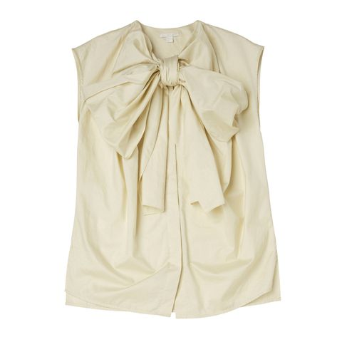 Clothing, Beige, Blouse, Dress, Outerwear, Sleeve, Sleeveless shirt, Silk, Shirt,