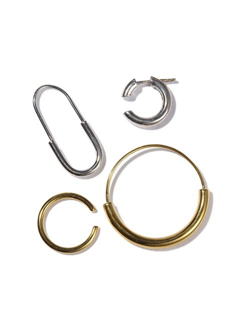Fashion accessory, Jewellery, Metal, Silver, Circle, Oval, Earrings, Brass, Body jewelry,