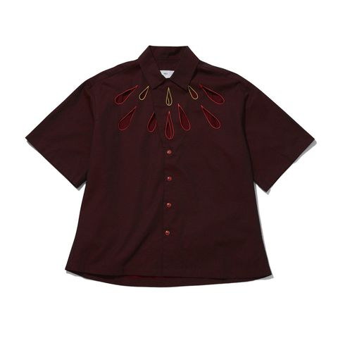 Clothing, Sleeve, Maroon, T-shirt, Outerwear, Shirt, Button, Top, Blouse, Collar,