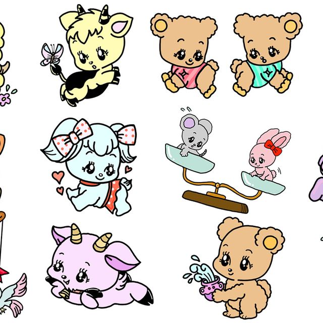 Cartoon, Line art, Clip art, Animal figure, Pink, Design, Illustration, Graphics, Fictional character, Art,