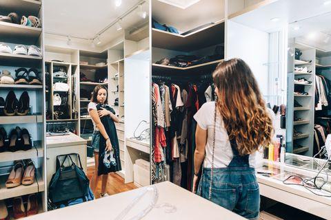 Room, Shelf, Furniture, Shelving, Bag, Closet, Retail, Clothes hanger, Fashion, Luggage and bags,