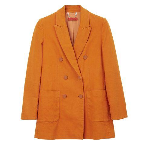Clothing, Coat, Product, Collar, Sleeve, Orange, Textile, Outerwear, Blazer, Tan,