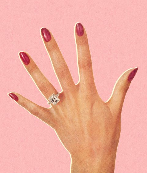 Finger, Ring, Hand, Nail, Pink, Engagement ring, Skin, Jewellery, Fashion accessory, Wedding ring,