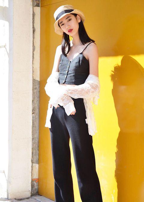 Clothing, Yellow, Fashion, Street fashion, Leg, Photo shoot, Headgear, Jeans, Fashion design, Photography,