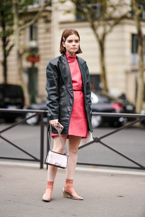 Clothing, Street fashion, Photograph, Fashion, Coat, Pink, Snapshot, Footwear, Outerwear, Trench coat,