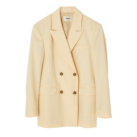 Clothing, Coat, Collar, Sleeve, Dress shirt, Textile, Outerwear, Blazer, Button, Tan,