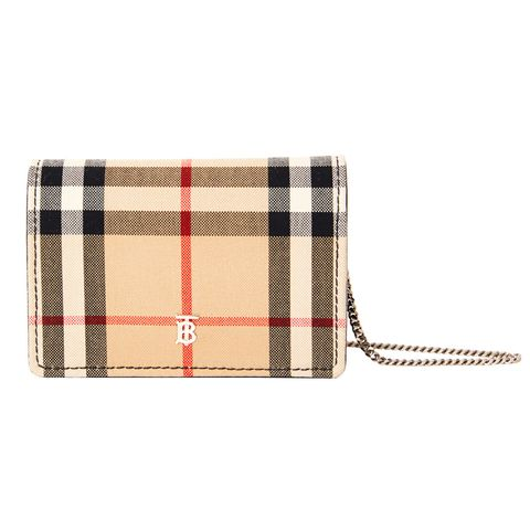 Handbag, Wallet, Plaid, Tartan, Fashion accessory, Bag, Beige, Wristlet, Coin purse, Pattern,