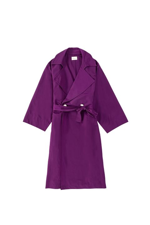 Clothing, Violet, Purple, Robe, Outerwear, Sleeve, Magenta, Coat, Overcoat, Trench coat,