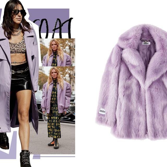 Clothing, Fur, Fur clothing, Outerwear, Purple, Fashion, Coat, Overcoat, Hood, Jacket,