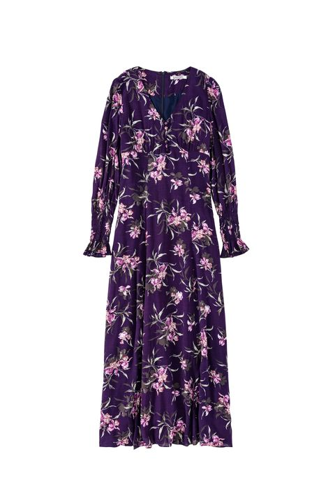 Clothing, Dress, Violet, Day dress, Purple, Sleeve, Robe, Lilac, Gown, Outerwear,